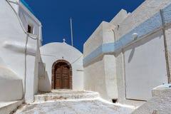 Street and small church In the castle of Pyrgos Kallistis, Santorini island, Thira, Greece Royalty Free Stock Photography