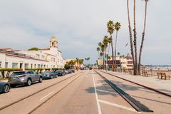 Street of the small Santa Cruz town. With small restaurants and street shops in California, USA Royalty Free Stock Images