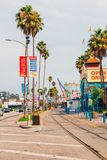 Street of the small Santa Cruz town. With small restaurants and street shops in California, USA Royalty Free Stock Photos