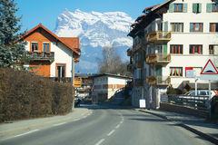 Street in a small town in the Alps, France. Stock Photo