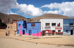 The street of a small town on Altiplano in Bolivia Royalty Free Stock Photo