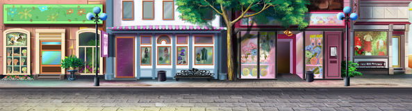 A street of the small town - 2. Panorama view. vector illustration
