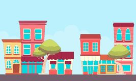 Street small town. A small town street with shops. Flat design. Vector illustration vector illustration