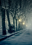 Street with snow Stock Image