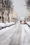 Street snow winter abandoned bus england Royalty Free Stock Image
