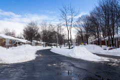 Street after a snowfall Royalty Free Stock Photo