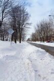 Street after a snowfall Royalty Free Stock Image
