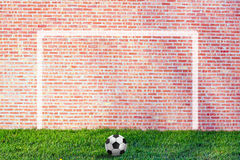 Street Soccer illustration. With brick wall background Stock Photo
