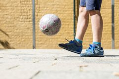 Street soccer keeping up royalty free stock images