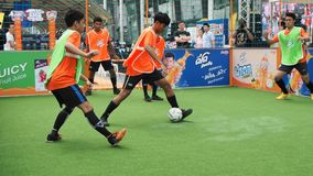 Street soccer tournament in Bangkok stock video footage