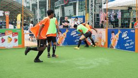 Street soccer tournament in Bangkok stock video
