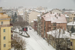 Street Solna in Pomorie, Bulgaria winter royalty free stock images