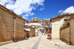 Street in Songzanlin Monastery, Yunnan, China. Street in Songzanlin Monastery, also known as Sungtseling, Ganden Sumtsenling or Little Potala Palace, Yunnan Stock Photography