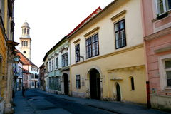 Street in Sopron, Hungary. When the area that is today Western Hungary was a province of the Roman Empire, a city called Scarbantia stood here. Its forum was Stock Photography