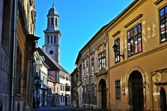 Street in Sopron. Street in the old town in Sopron, Hungary Royalty Free Stock Image
