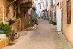 Street in Soreze. A street in the old town of Soreze, France stock images