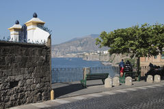 Street in Sorrento, Italy. Sorrento is a town overlooking the Bay of Naples in Southern Italy. The Sorrentine Peninsula has views of Naples, Vesuvius and the Royalty Free Stock Images