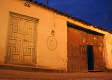 Street in south america. (peru, cuzco) in the blue hour royalty free stock photography