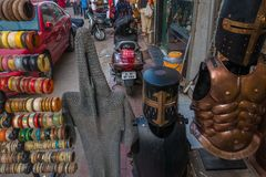Street Souvenir Market In India Selling Body Armor. Stock Image