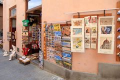 Street souvenir shop in the Old town of Siena, Tuscany, Italy stock image
