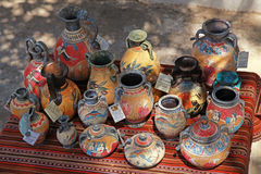 Street souvenir shop with traditional Greek  pottery Royalty Free Stock Images