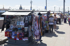 Street souvenir trade on the Spit of Vasilievsky Island in St. Petersburg Royalty Free Stock Image