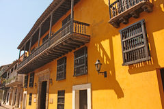 Street spanish colonial style in Cartagena de Indias, Colombia. Stock Images