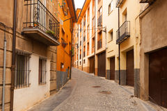 Street at  spanish town in day. Teruel Royalty Free Stock Photos