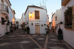 Street in spanish town at dusk. Street in spanish town Estepona at dusk, Andalusia, Spain Stock Image