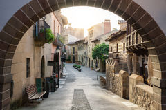 Street in the Spanish town, Spain. View through the arch. Pueblo Espanyol Royalty Free Stock Photo