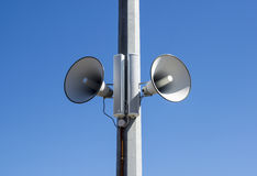 Street speakers in blue sky Stock Photos
