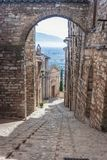 View of a street in Spello, Umbria, Italy stock images
