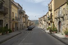 A street in Sperlinga, Italy royalty free stock photography