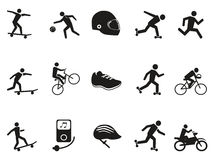 Street sport biking skating skateboarding icons set Stock Image