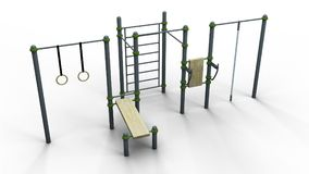 Street sport rack 10 3d illustration render. Street sport rack complex 10 isolated on a white background 3d illustration render Stock Photography