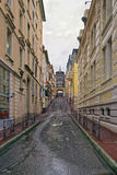 Street and the spring in Evian-les-Bains in France in winter in Royalty Free Stock Images