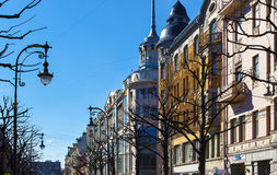 Street  on the spring sunny day. Saint Petersburg Royalty Free Stock Photo