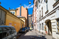 Street in St. Petersburg. The narrowest street in the city - the street Repin. Landmark in the historic part of the city. Petersburg, old houses, narrow Royalty Free Stock Photos