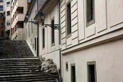 Street stairs. In Budapest, Hungary Stock Photo
