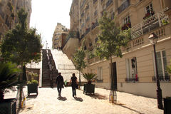 Street and stairs in Montmartre Royalty Free Stock Image
