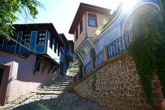 Street with stairs in old town. (Plovdiv Royalty Free Stock Photography