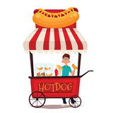 Street stall with hot dogs. Street vendor course dogs, comic cartoon vector illustration on a white background, mobile store fast fudom, street hot dog cart Royalty Free Stock Photo