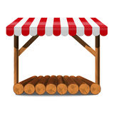 Street stall with red awning and wooden rack. Street stall with red awning and wooden log rack and counter. Stand for sale. Vector n illustration Royalty Free Stock Photos