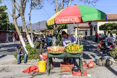 Street stall selling fresh fruit, Antigua, Guatemala stock image