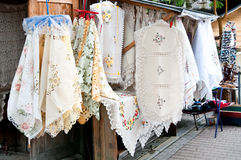 Street stall with tablecloth. Street stall with textile  tablecloth Royalty Free Stock Images