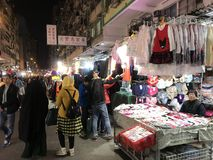 On-street Stalls in Mongkok, Hong Kong. This photo was taken at Fa Yuen Street in Mongkok, Hong Kong at night. This street is famous for shopping as it has a lot Royalty Free Stock Photography