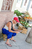 Street Stand with Fruits and Vegetables Stock Photos