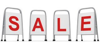 Street stand sale advertisement banners on white Royalty Free Stock Photos