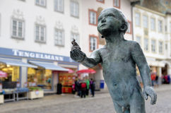 Street statue of a boy Royalty Free Stock Image