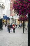 Street of Stavanger. A perspective of Stavanger street, a famous Norwegian city, popular tourist destination. Background blurred, violet flowers on a lamp post Royalty Free Stock Photo